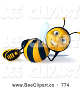 Clip Art of a Cheerful 3d Bee Character Relaxing by Julos