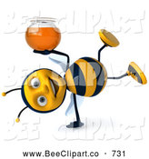 Clip Art of a Cheerful 3d Bee Doing a Cartwheel and Holding Honey by Julos