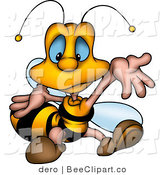 Clip Art of a Confused Little Worker Bee Shrugging His Arms by Dero