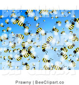 Clip Art of a Crowd of Flying Bees by Prawny