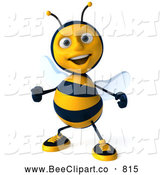 Clip Art of a Cute 3d Bee Character Dancing by Julos