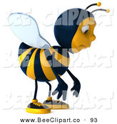 Clip Art of a Cute 3d Bee Character Facing Front and Pouting by Julos