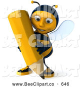 Clip Art of a Cute 3d Bee Character Holding a Pencil by Julos