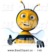 Clip Art of a Cute 3d Bee Character Holding a Thumb up over a Blank Sign by Julos
