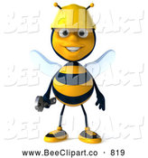 Clip Art of a Cute 3d Bee Character Holding a Wrench by Julos