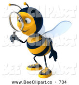 Clip Art of a Cute 3d Bee Character Using a Magnifying Glass by Julos
