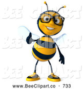 Clip Art of a Cute 3d Bee Character Wearing Glasses and Holding a Thumb up by Julos