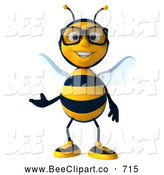 Clip Art of a Cute 3d Bee Character Wearing Glasses and Presenting by Julos