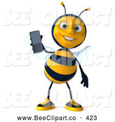 Clip Art of a Cute 3d Bee Holding a Cell Phone by Julos