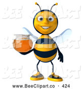 Clip Art of a Cute 3d Bee Holding Honey by Julos
