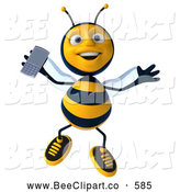 Clip Art of a Cute 3d Bee Jumping with a Cell Phone by Julos