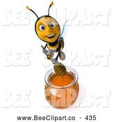 Clip Art of a Cute 3d Bee Mixing Honey by Julos