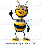 Clip Art of a Cute 3d Bee Wearing Glasses, Looking up and Pointing by Julos