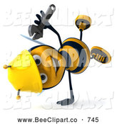 Clip Art of a Cute 3d Worker Bee Doing a Cartwheel and Holding a Wrench by Julos