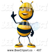 Clip Art of a Cute 3d Worker Bee Gesturing up by Julos