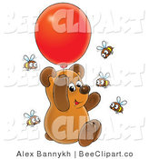 Clip Art of a Cute Bear Cub Floating with a Balloon and Surrounded by Bees by Alex Bannykh