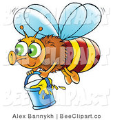 Clip Art of a Cute Bee Flying with a Bucket of Honey by Alex Bannykh