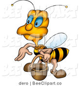 Clip Art of a Cute Worker Bee Carrying a Pail by Dero