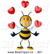 Clip Art of a Friendly 3d Bee Character Juggling Hearts by Julos