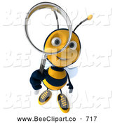 Clip Art of a Friendly 3d Bee Character Using a Magnifying Glass by Julos