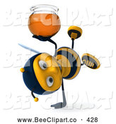 Clip Art of a Friendly 3d Bee Doing a Cartwheel with Honey by Julos