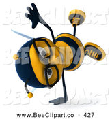 Clip Art of a Friendly 3d Bee Wearing Glasses and Doing a Cart Wheel by Julos