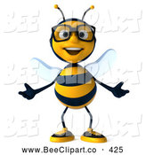 Clip Art of a Friendly 3d Bee Wearing Glasses and Gesturing Front by Julos