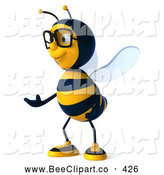 Clip Art of a Friendly 3d Bee Wearing Glasses and Gesturing Left by Julos