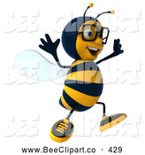Clip Art of a Friendly 3d Bee Wearing Glasses and Jumping by Julos