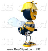 Clip Art of a Friendly 3d Worker Bee Facing Right by Julos