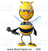 Clip Art of a Friendly 3d Worker Bee Holding a Wrench by Julos