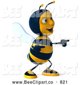 Clip Art of a Grinning 3d Bee Character Laughing and Pointing by Julos