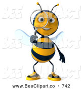 Clip Art of a Grinning 3d Bee Using a Magnifying Glass and Facing Front by Julos