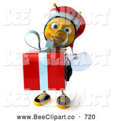Clip Art of a Grinning 3d Christmas Bee Carrying a Gift by Julos
