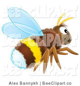 Clip Art of a Hairy Brown, White and Yellow Bumble Bee Flying to the Right by Alex Bannykh