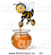 Clip Art of a Happy 3d Bee Character Dipping a Honey Wand in a Bowl of Honey by Julos