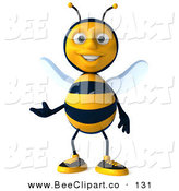 Clip Art of a Happy 3d Bee Character Facing Front and Gesturing by Julos