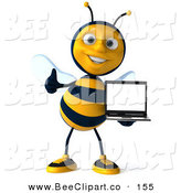 Clip Art of a Happy 3d Bee Character Facing Front and Holding a Laptop with a Thumbs up by Julos
