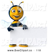 Clip Art of a Happy 3d Bee Character Facing Front with a Sign by Julos