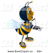 Clip Art of a Happy 3d Bee Character Facing Right with a Laptop by Julos