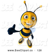 Clip Art of a Happy 3d Bee Character Holding a Thumb up and Smiling by Julos