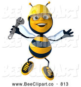 Clip Art of a Happy 3d Bee Character Holding a Wrench by Julos