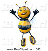 Clip Art of a Happy 3d Bee Character Jumping by Julos