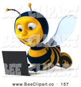 Clip Art of a Happy 3d Bee Character Laying on the Floor and Using a Laptop, Facing Slightly Left by Julos