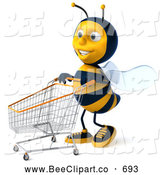 Clip Art of a Happy 3d Bee Character Pushing a Shopping Cart to the Left by Julos