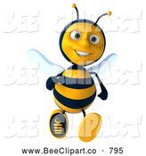Clip Art of a Happy 3d Bee Character Running by Julos