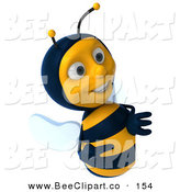 Clip Art of a Happy 3d Bee Character Smiling and Looking at a Blank Sign by Julos