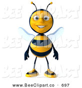 Clip Art of a Happy 3d Bee Character Standing and Facing Front by Julos