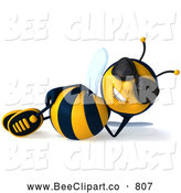 Clip Art of a Happy 3d Bee Character Wearing Shades and Reclining by Julos