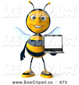 Clip Art of a Happy 3d Bee Facing Front and Holding a Laptop by Julos